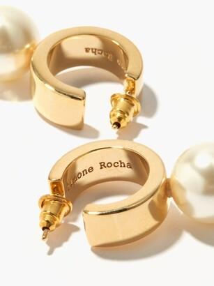 Simone Rocha Faux-pearl And Metal Hoop Earrings - Pearl