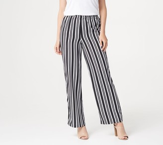 Bob Mackie Petite Woven Striped Pull-On Pants