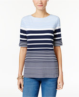 Karen Scott Striped Boat-Neck T-Shirt, Only at Macy's