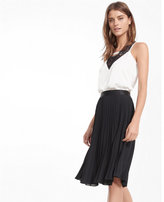 Express Petite High Waisted Pleated Midi Skirt