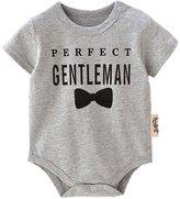 honeys Infant Baby Boy Girl Perfect Gentleman Bowtie Pattern Romper Onesie Bodysuit (L(12-18months), )