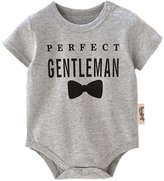 honeys Infant Baby Boy Girl Perfect Gentleman Bowtie Pattern Romper Onesie Bodysuit (S(0-6months), )