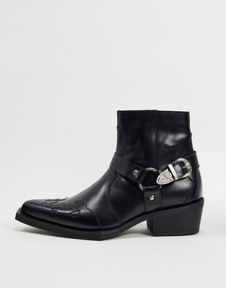 Asos Edition EDITION leather western cuban boot with square toe-Black