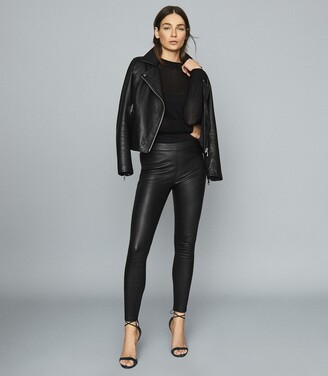 Reiss Goldie - Leather Leggings in Black