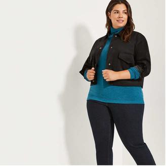 Joe Fresh Women+ Faux Suede Jacket, Black (Size 1X)