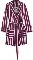 Love Stories Ritz Appliquéd Striped Satin Robe - Plum