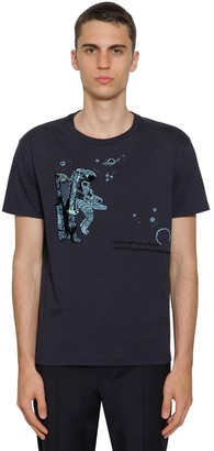 Valentino Cotton T-Shirt W/ Space Land Embroidery