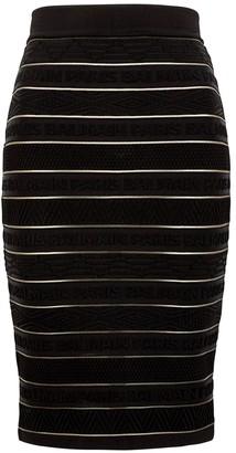 Balmain Black logo stretch-knit pencil skirt