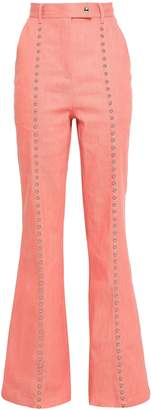 Diane von Furstenberg Studded Stretch-cotton Twill Flared Pants