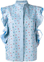 Manoush denim volant top - women - Cotton/Polyester - 36