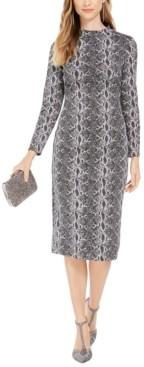 INC International Concepts Inc Snake-Embossed Sheath Midi Dress, Created for Macy's