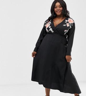 Asos DESIGN Curve embroidered wrap midi dress