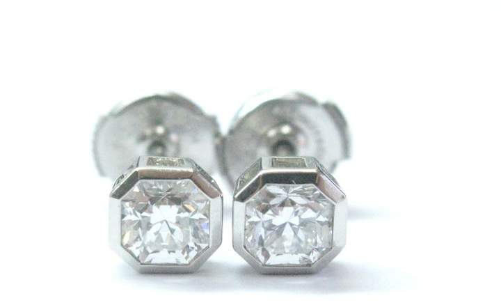 Tiffany & Co. Platinum Lucida Diamond Bezel Set Stud Earrings