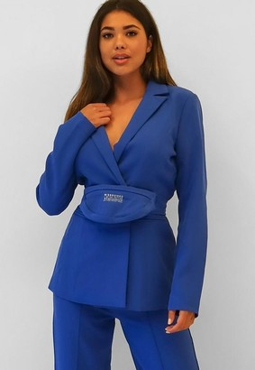Missguided Blue Bum Bag Waist Blazer