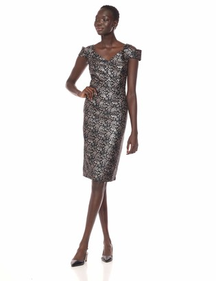 Maggy London Women's Rose Brocade Cold Shoulder Cocktail Sheath