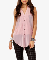 FOREVER 21 Sleeveless Draped Panel Shirt