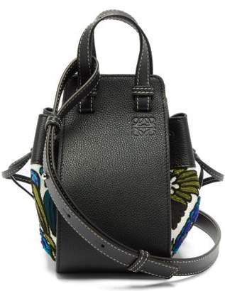 Loewe Hammock Mini Floral-embroidered Leather Bag - Womens - Blue Multi