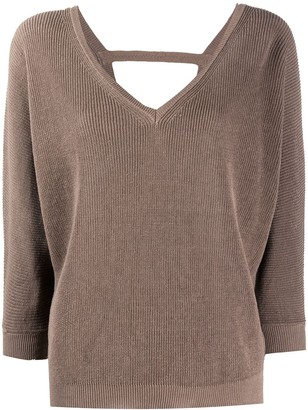 Peserico V-neck cropped sleeves sweater