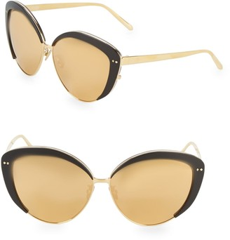 Linda Farrow Luxe Contrast Trim 62MM Cat Eye Sunglasses
