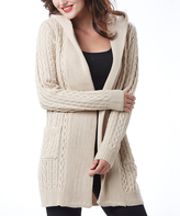 Beige Cable-Knit Hooded Wool-Blend Open Cardigan