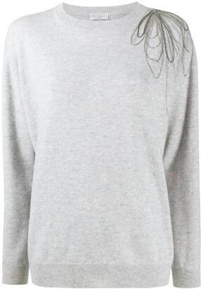 Brunello Cucinelli Drape-Bead Crew Neck Sweater