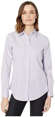 Lauren Ralph Lauren Pinstripe Easy Care Cotton Shirt (Purple/Multi) Women's Clothing