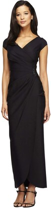 Alex Evenings Women's Slimming Long Cap Sleeve Dress with Side Beaded Detail