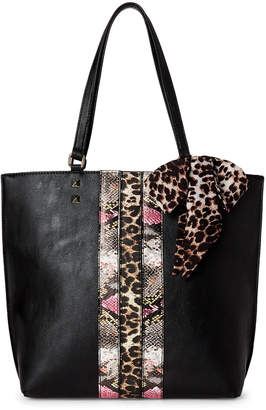 Betsey Johnson Black Scarf-Accented Tote