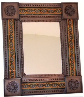 Fine Crafts & Imports Brown Liz Tile Talavera Tin Mirror