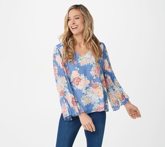 Laurie Felt V-Neck Pleated Sleeve Blouse