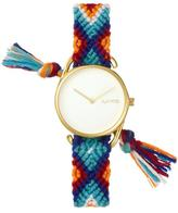 RumbaTime Jane Goldtone White Dial Interchangeable Blue, Orange, Red Braided Strap Watch