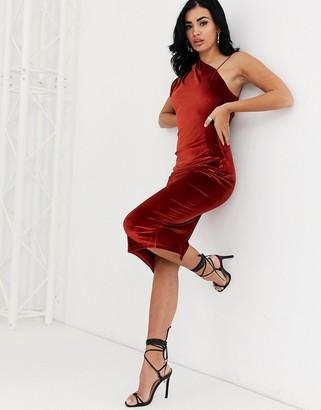 Asos Design DESIGN velvet one shoulder midi dress-Orange