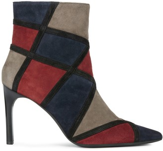 Geox Faviola Suede Patchwork Ankle Boots with High Stiletto Heel