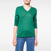 Paul Smith Women's Green Merino Wool V-Neck Sweater
