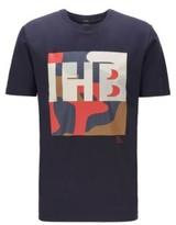 HUGO BOSS - Cotton T Shirt With Monogram And Camouflage Print - Dark Blue
