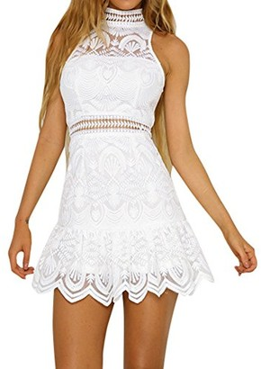 DEELIN Fashion Women Summer Backless Sleeveless Mini Dress Sexy Evening Party Elegant Beach Dress Sundress(White XL)