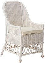 """East at Main Bennett White Rattan Square Accent Chair, (23"""" L x 22"""" W x 39"""" H)"""