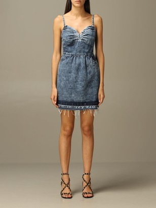 RED Valentino Dress Denim Dress With Gathered Bow