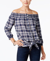 Style&Co. Style & Co Indiana Cotton Off-The-Shoulder Shirt, Created for Macy's