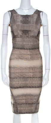 Herve Leger Brown Snakeskin Print Bandage Cocktail Dress XS