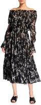 Norma Kamali Tiered Off-Shoulder Floral Peasant Dress
