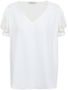 Joie Broderie Anglaise-trimmed Crepe De Chine Blouse