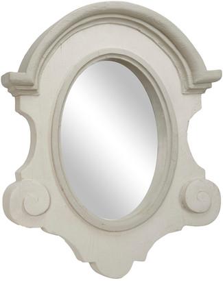 Uma Enterprises Uma Antique Light Gray Wood Oval Wall Mirror