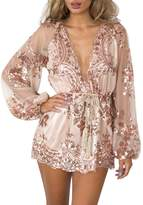 Glamaker Women's Sexy V Neck Long Sleeves Lace Sequin Rompers Shorts Culbwear L