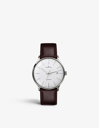 Junghans 027/4310.00 meister classic stainless steel and leather watch, Mens, Silver