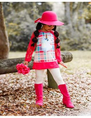 Mia Belle Baby Plaid Lace Trimmed Raglan Sleeve Tunic & Leggings Set (Toddler & Little Girls)