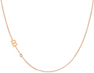 Zoe Lev Jewelry Side Chic Personalized Asymmetric Initial & Diamond Bezel Necklace in 14K Yellow Gold