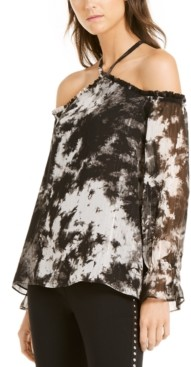 INC International Concepts Inc Petite Tie-Dyed Cold-Shoulder Top, Created for Macy's