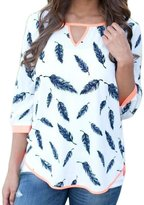DDLBiz Women Casual Loose Half Sleeve Plume Tee Shirt Blouse Top (XL, )