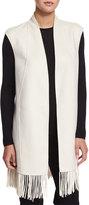Neiman Marcus Cashmere Fringe-Trim Vest